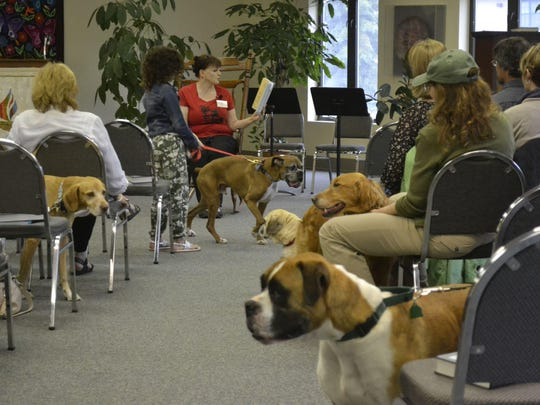 Some of the more than dozen dogs and cats in attendance for the annual pet blessing Sunday at Green Bay Area Unitarian Universalist Fellowship in Ashwaubenon crowd an aisle as service leader Claudia Moder, back, reads a story during the congregation's weekly service.