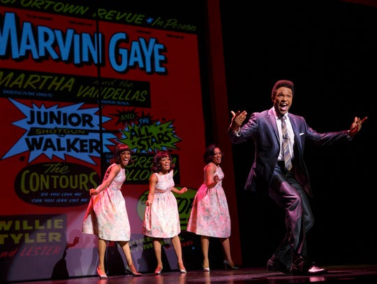 Jarran Muse as Marvin Gaye and the cast of the touring