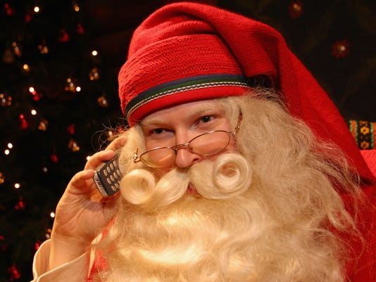 Santa Claus takes a call