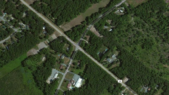 This Thursday, April 27, 2017 aerial photo shows the scene of a fatal, two-vehicle crash near the intersection of Whitesville and Pepperbox roads east of Delmar. The road was closed as of 3 p.m. and motorists were urged to seek an alternate route.