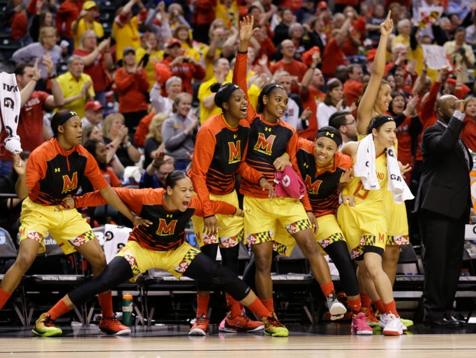 The Maryland bench celebrates in the second half of