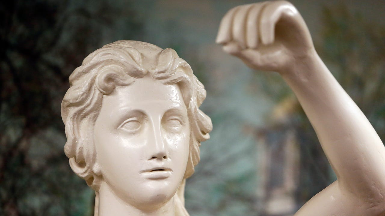 After nearly 6 months of restoration the Lady Justice sculpture of Morristown is back home in the courthouse. Justice stood outdoors for 185 years in the tympanum of the courthouse and will be returned there soon.