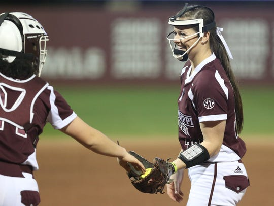 Mississippi State pitcher Regan Green gets the ball