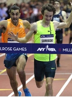 Erik Sowinski edges Robby Andrews in the 1,000 meters at the Millrose Games in New York on Saturday.