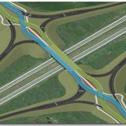 The state is building a diverging diamond interchange for I-65 at Worthsville Road. The design crisscrosses the east- and westbound lanes for a short span to allow cars to enter the highway without turning in front of oncoming traffic.