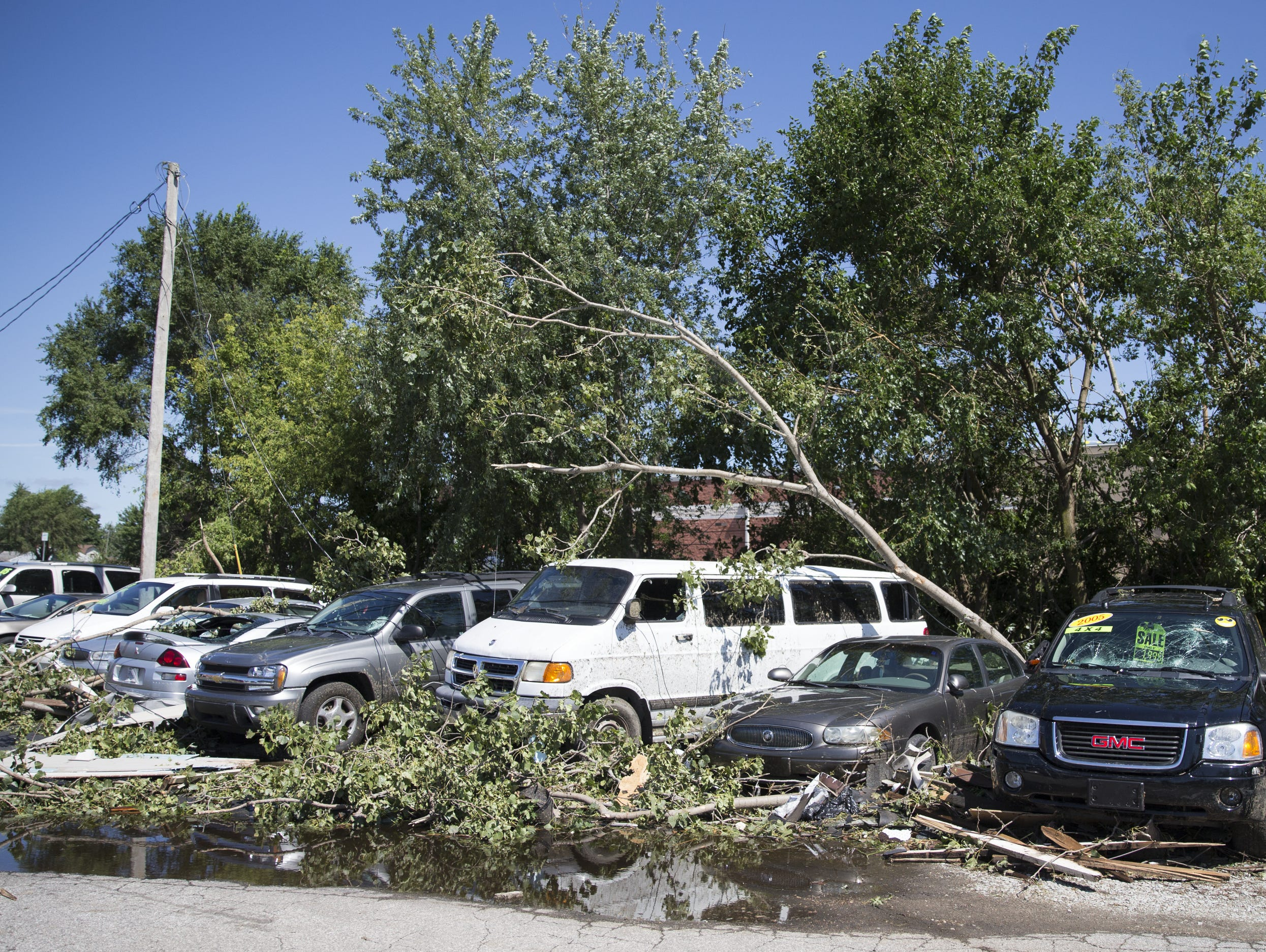 Tornado damage a day after a tornado displaced dozens of families in the central Indiana town, Kokomo, Thursday, August 25, 2016.