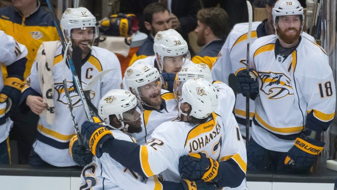 The Nashville Predators celebrate Austin Watson's second period goal against the Anaheim Ducks in game 1 of the NHL Western Conference Finals at Honda Center.
