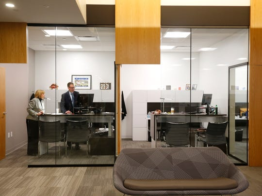 The Partnership's office includes adjustable height desks so employees can work on their feet.