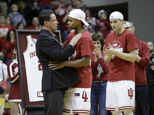 Tom Crean hugs Yogi Ferrell during senior night Sunday, March 6, 2016, at Assembly Hall in Bloomington.