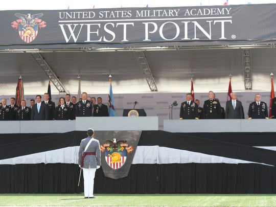 Cadet First Captain Simone Askew leads the corps of cadets at the 220th graduation and commissioning ceremony at U.S. Military Academy at West Point on Saturday, May 26, 2018.