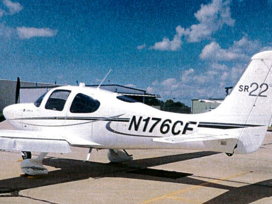 "A photo provided by the Bloomington Normal Airport Authority shows the damaged wing of a Cirrus SR22 single engine plane at the Central Illinois Regional Airport in Bloomington. Iowa State University President Steven Leath caused ""substantial damage"" to the university airplane he was piloting when it made a hard landing at the Illinois airport last year — a costly incident kept quiet for 14 months."