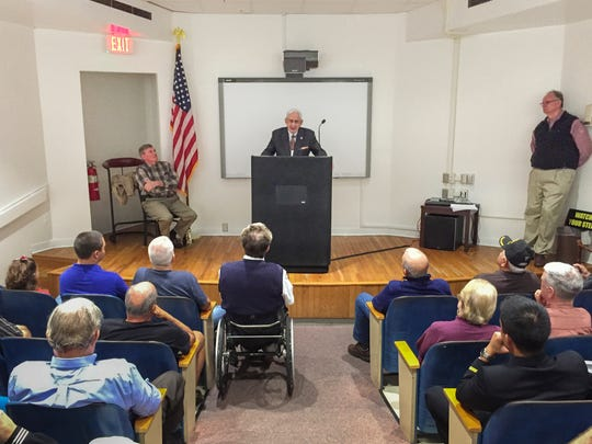 USS Indianapolis survivor Edgar Harrell speaks about his ordeal at the National Museum of Naval Aviation in Pensacola on Wednesday, December 7, 2016.  Harrell was one of only 317 survivors of the USS Indianapolis that was torpedoed and sunk by the Japanese on July 30, 1945.