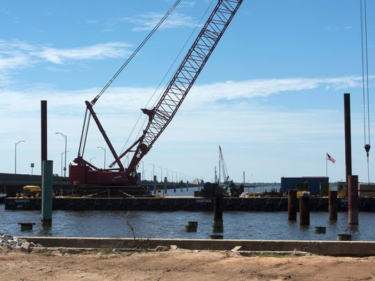 Work on the Pensacola Bay Bridge replacement continues. Gov. Rick Scott made a visit to the $398 million construction project on Monday, June 26, 2016.