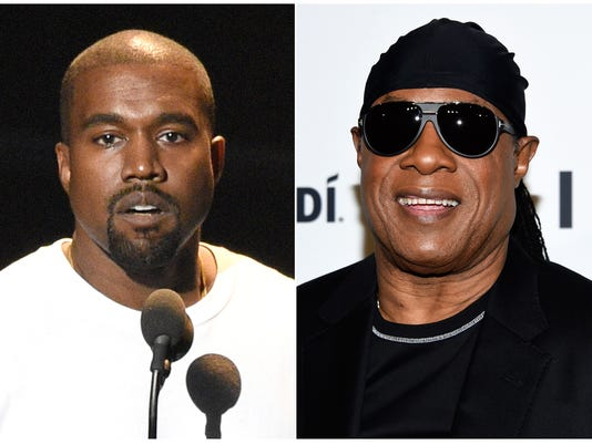 AP PEOPLE-KANYE WEST-STEVIE WONDER A ENT USA NY