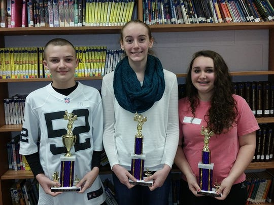 WJM 7th grade Spelling Bee winners: 1st Noah Christensen,