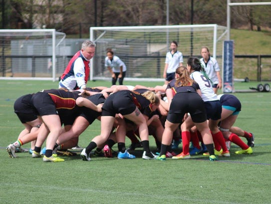 The Salisbury women's club rugby team battles in a