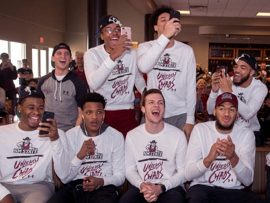 Members of the New Mexico State men's basketball team