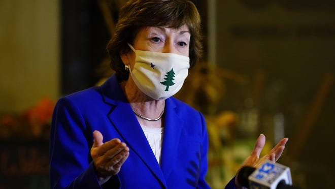 Sen. Susan Collins, R-Maine, speaks at a news conference, Friday, Oct. 2, 2020, in Waterville, Maine. Collins, who is seeking reelection, visited businesses on a campaign swing through downtown Waterville.