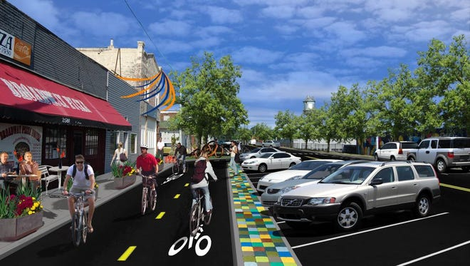 The Hampline will feature the city's first on-street bike lanes protected by curbs and medians.