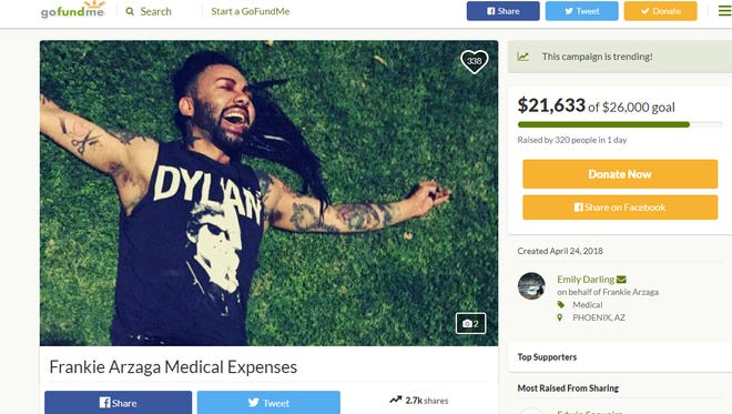 A GoFundMe account has been organized for Frankie Arzaga who was injured in a possible hate crime over the weekend.