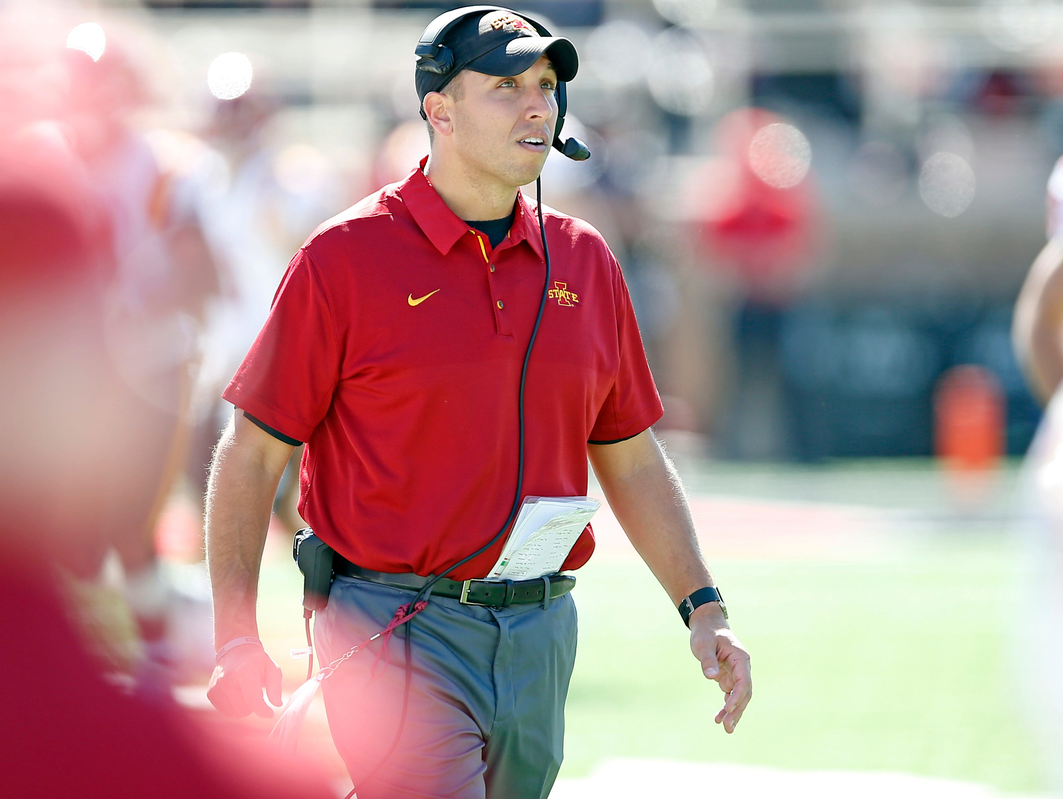 Iowa State coach Matt Campbell walks down the field during an NCAA football game against Texas Tech, Saturday, Oct. 21, 2017, at Jones AT&T Stadium in Lubbock, Texas.
