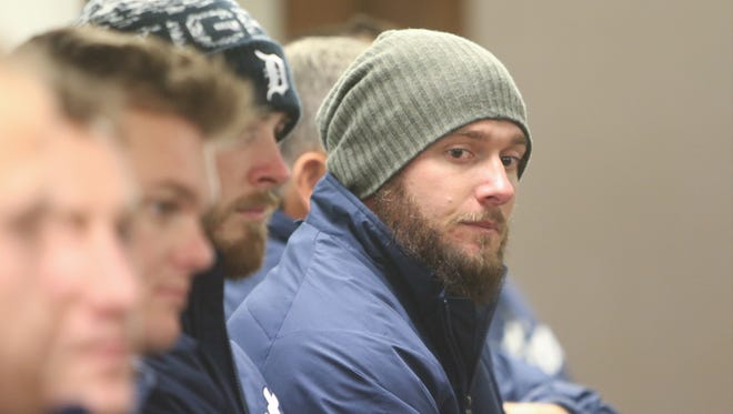 Detroit Tigers' Jarrod Saltalamacchia listens to questions after the walking tour of the main branch of the Detroit Public Library on Thursday, January 21, 2016 in Detroit.