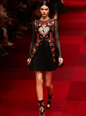 Kendall Jenner walks the runway during the Dolce & Gabbana show as a part of the Milan Fashion Week Womenswear Spring/Summer 2015 on September 21, 2014 in Milan, Italy.