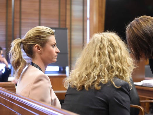 Erin Andrews sits in court during proceedings for her