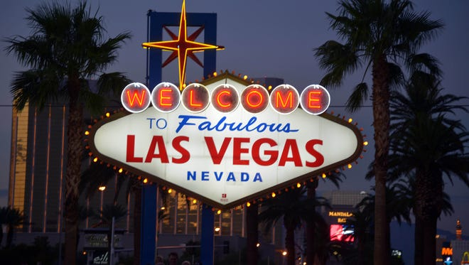 A general view of a sign on Las Vegas Blvd before entering the city's strip.