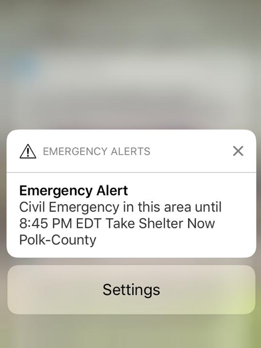 Civil Emergency alert