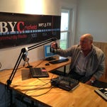 Bruce Stasi discusses his radio project Tuesday at WBYC's studio in Crisfield.