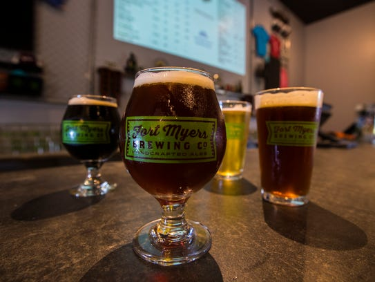A handful of craft beers from Fort Myers Brewing Co.