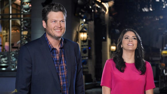 """Blake Shelton and Cecily Strong of """"Saturday Night Live"""" on January 20 on Tuesday."""