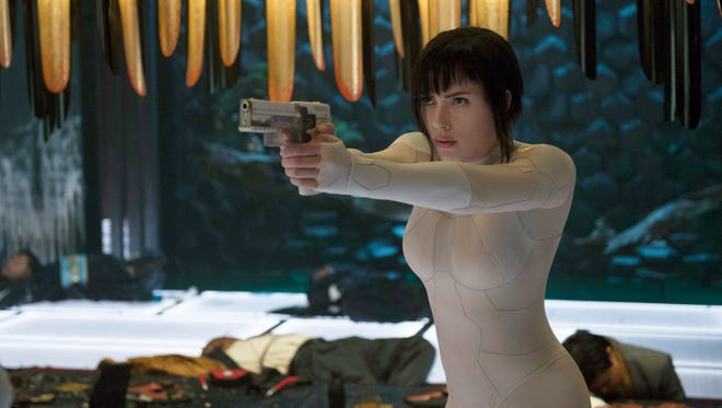 "Scarlett Johansson plays the Major, a part-cyborg cop, in ""Ghost in the Shell."""