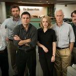 "The Boston Globe team in ""Spotlight"" includes, from left, Michael Keaton, Liev Schreiber, Mark Ruffalo, Rachel McAdams, John Slattery and Brian d'Arcy James."