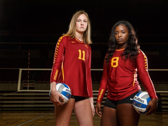 Iowa State's Piper Mauck and Monique Harris stand for a portrait during media day at Hilton Coliseum Tuesday, Aug. 15, 2017.