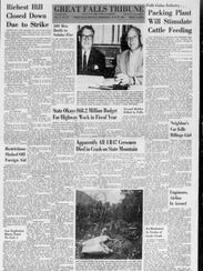 """The front page of the July 25, 1962, Great Falls Tribune had the headlines for a strike in Butte, a fire in the Bitterroot, a meat packing plant in the works and """"Apparently all four B-47 crewmen died in crash on state mountain."""""""