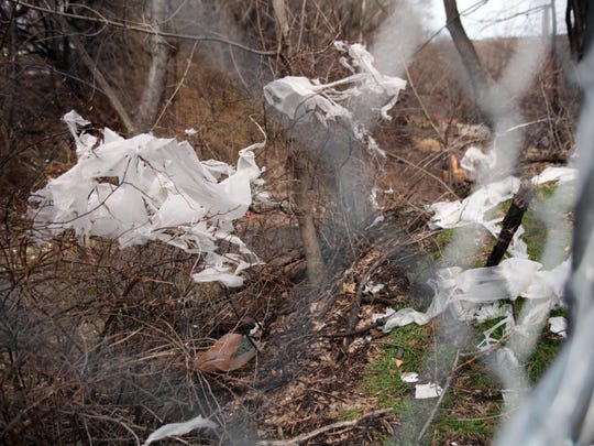 Plastic bags and other garbage littered a footpath