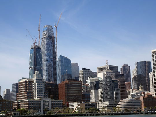 The San Francisco skyline shows the the under-construction
