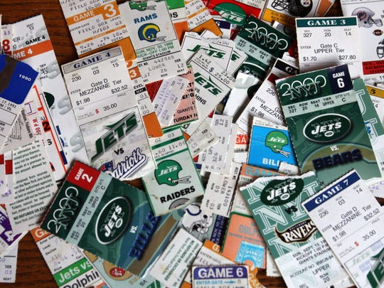 This is a collection of Jets tickets over the years