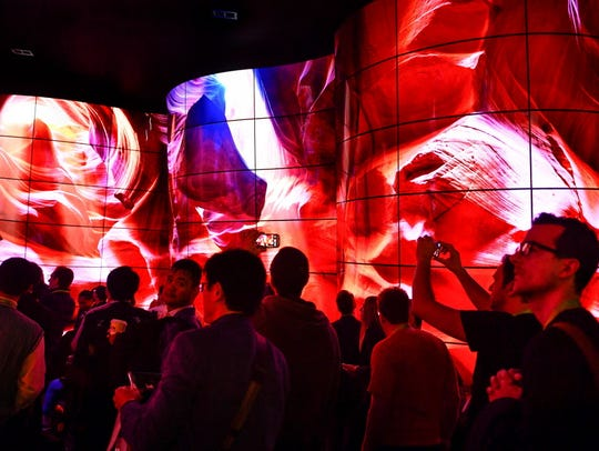 LG's tunnel of OLED TVs at the 2018 Consumer Electronics