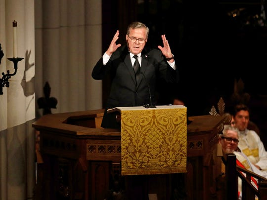 Former Florida Governor Jeb Bush speaks during a funeral service for his mother, former first lady Barbara Bush at St. Martin's Episcopal Church, Saturday, April 21, 2018, in Houston. (AP Photo/David J. Phillip , Pool)