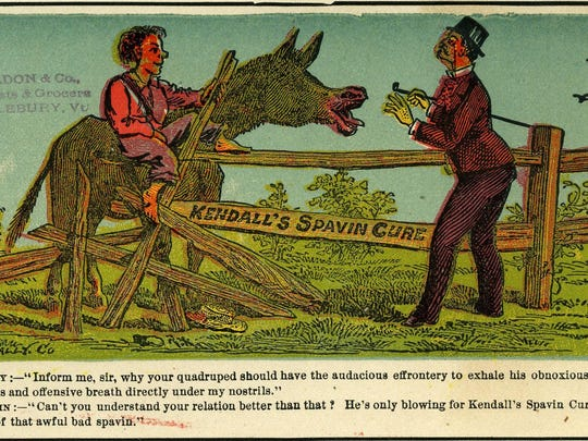 This trade card from 1880 is an ad for Kendall's Spavin Cure. A Burlington Medical College graduate, Benjamin J. Kendall, invented his famous Spavin Cure for the treatment of bone disorders in horses' legs