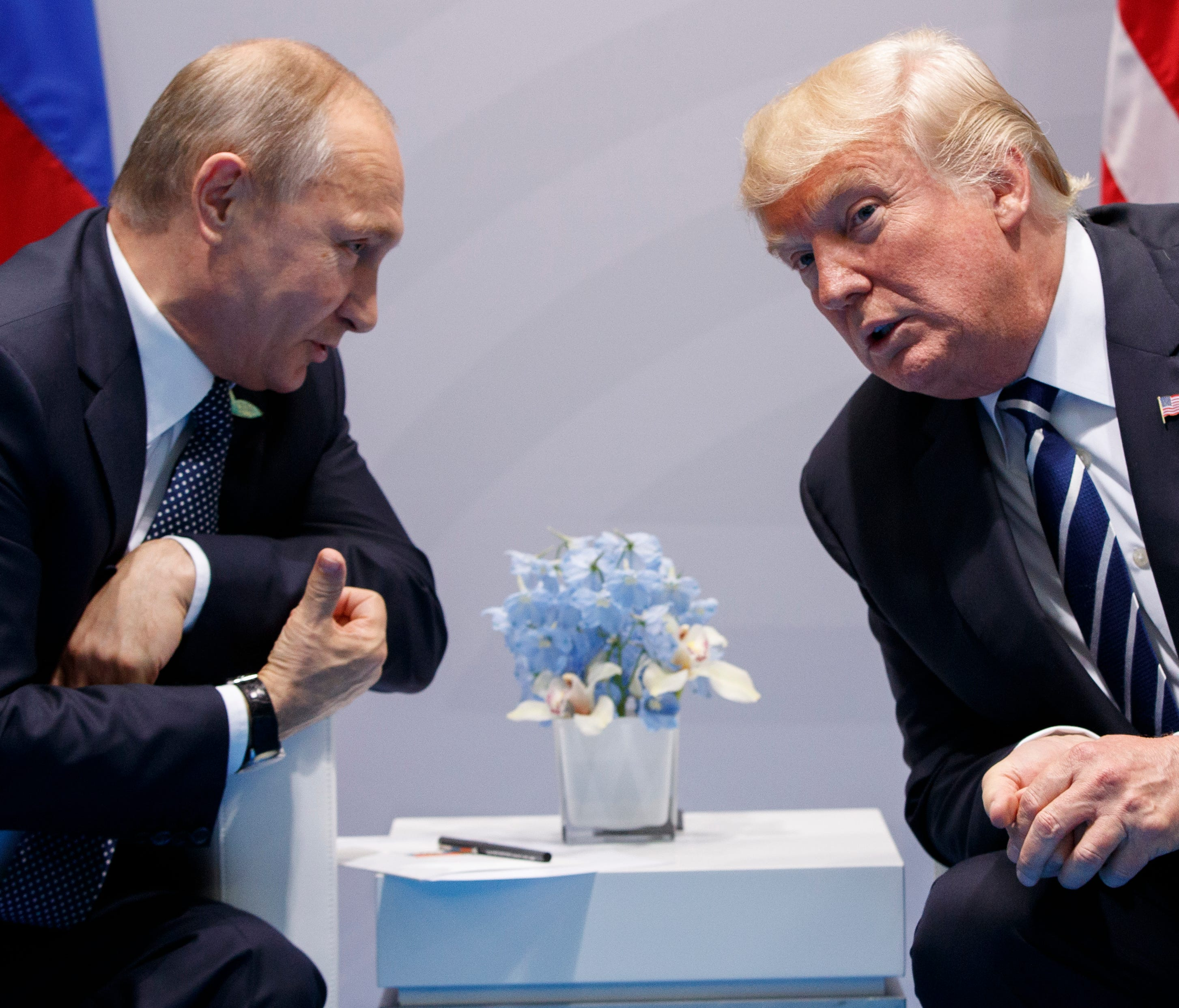 In this July 7, 2017, file photo, President Trump meets with Russian President Vladimir Putin at the G20 Summit in Hamburg, Germany.
