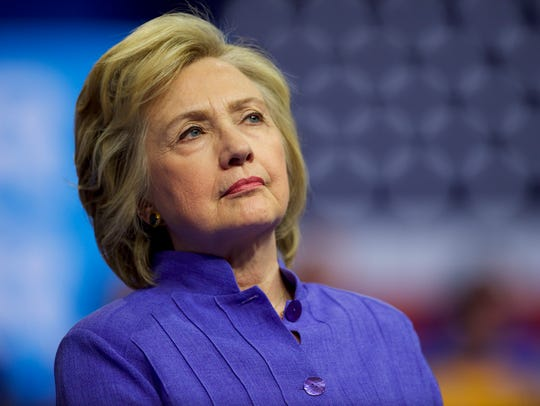 Democratic Presidential nominee Hillary Clinton holds