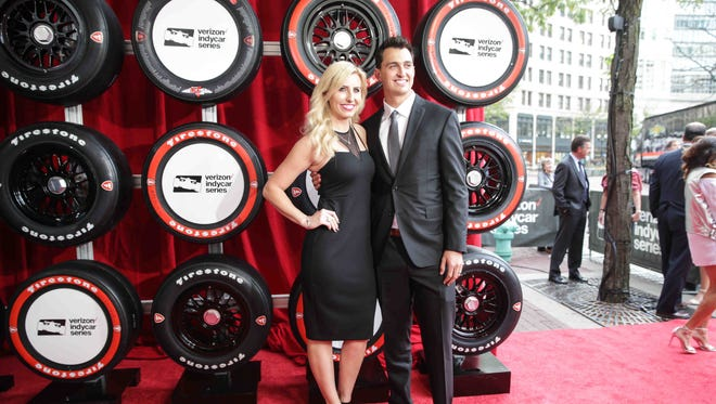 Married Race Car Drivers, Courtney Force and Graham Rahal walk the red carpet during the Verizon Indy car Championship Celebration, held at the Hilbert Circle Theatre, Tuesday October 4th, 2016.