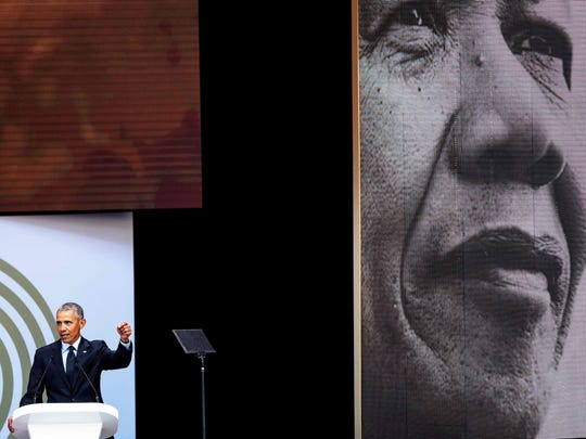 Former U.S. President Barack Obama speaks during the 2018 Nelson Mandela Annual Lecture at the Wanderers cricket stadium in Johannesburg, South Africa on July 17, 2018. In his highest-profile speech since leaving office, Obama urged people around the world to respect human rights and other values under threat in an address marking the 100th anniversary of anti-apartheid leader Nelson Mandela's birth.