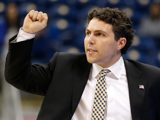 Georgia Tech head coach Josh Pastner gestures during the second half of an NCAA college basketball game  against Pittsburgh , Saturday, Jan. 13, 2018, in Pittsburgh. (AP Photo/Jared Wickerham)