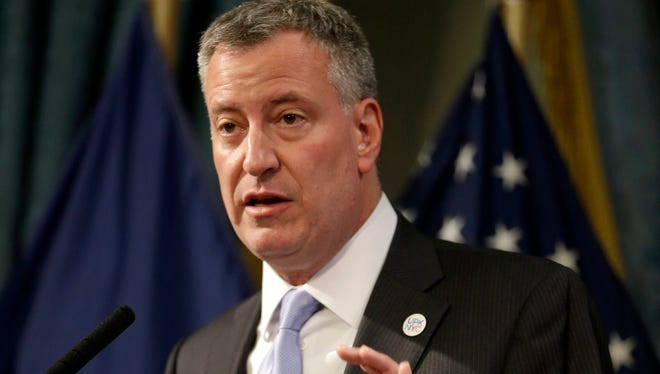 New York City Mayor Bill de Blasioat city Hall on May 8, 2014.