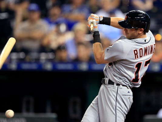 Detroit Tigers' Andrew Romine breaks his bat while grounding out during the eighth inning of a baseball game against the Kansas City Royals at Kauffman Stadium in Kansas City, Mo., Thursday, July 20, 2017. (AP Photo/Orlin Wagner)